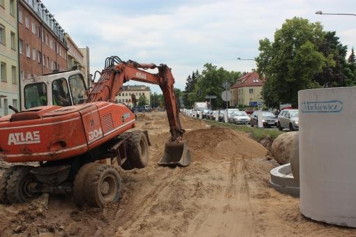 Budowa linii tramwajowej w ulicy Kościuszki (1 czerwca 2015)