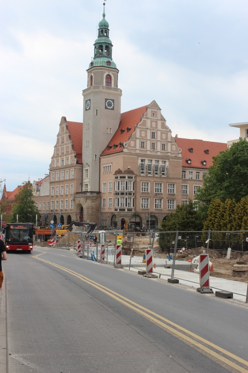 Budowa linii tramwajowej w alei Piłsudskiego (1 czerwca 2015)