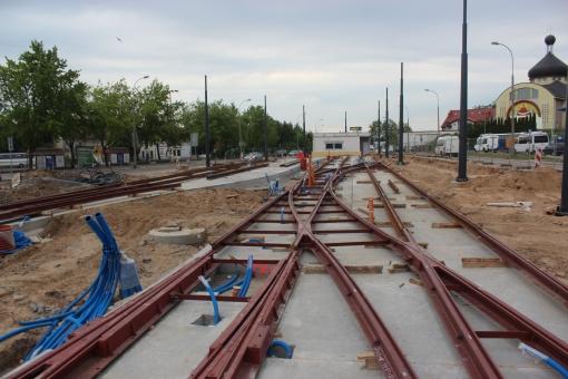 Budowa linii tramwajowej na ulicy Lubelskiej (1 czerwca 2015)