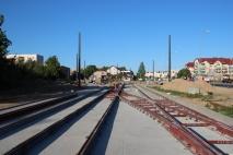 Budowa linii tramwajowej przy ulicy Witosa (15 czerwca 2015) - przystanek końcowy przy skrzyżowaniu z ulicą Kanta
