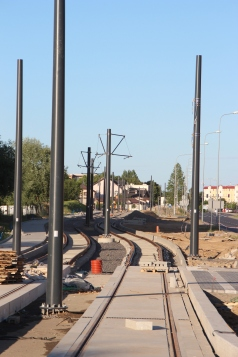 Budowa linii tramwajowej przy ulicy Witosa (15 czerwca 2015) - przystanek Laszki (dziś Witosa)