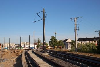 Budowa linii tramwajowej przy ulicy Płoskiego (15 czerwca 2015)