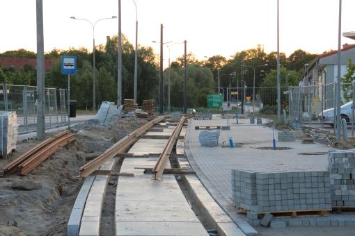 Budowa linii tramwajowej przy ulicy Tuwima (15 czerwca 2015) - przystanek Iwaszkiewicza (dziś Uniwersytet-Pływalnia)
