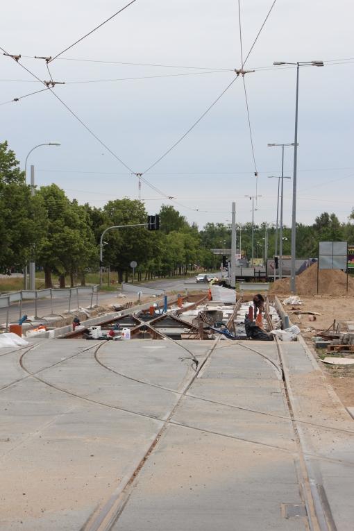 Budowa linii tramwajowej w ulicy Towarowej (18 czerwca 2015)