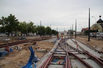 Budowa linii tramwajowej w ulicy Lubelskiej (18 czerwca 2015) - tory odstawcze przy przystanku końcowym Dworzec Główny