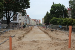 Budowa linii tramwajowej w ulicy Kościuszki (18 czerwca 2015)