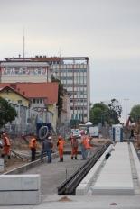 Budowa linii tramwajowej w alei Piłsudskiego (18 czerwca 2015)