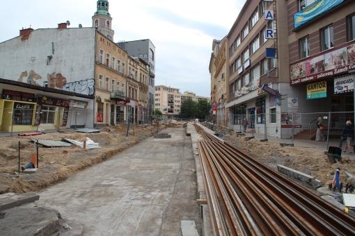 Budowa linii tramwajowej w ulicy 11 Listopada (18 czerwca 2015)