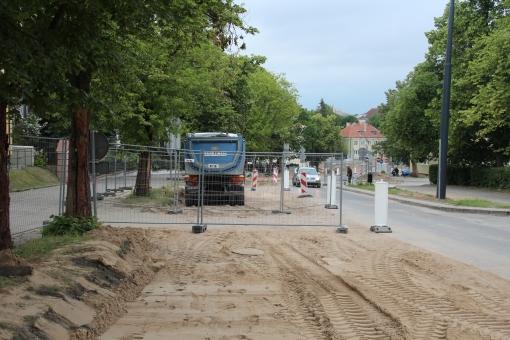 Budowa linii tramwajowej w ulicy Żołnierskiej (18 czerwca 2015)