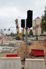 Budowa linii tramwajowej na skrzyżowaniu ulic Obiegowej i Żołnierskiej (18 czerwca 2015)