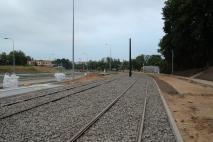 Budowa linii tramwajowej przy ulicy Obiegowej (18 czerwca 2015)