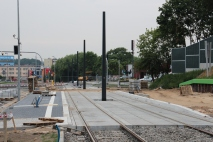 Budowa linii tramwajowej przy ulicy Obiegowej (18 czerwca 2015) - przystanek Obiegowa