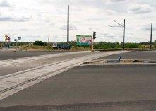 Budowa linii tramwajowej na skrzyżowaniu ulic Płoskiego, Witosa i Bukowskiego (12 lipca 2015)