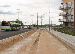 Budowa linii tramwajowej przy ulicy Witosa (12 lipca 2015)
