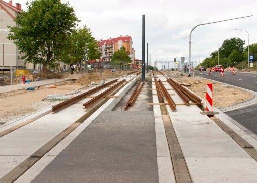 Budowa linii tramwajowej przy alei Sikorskiego (12 lipca 2015) - przystanek Andersa