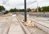 Budowa linii tramwajowej przy alei Sikorskiego (12 lipca 2015) - skrzyżowanie z ulicami Minakowskiego i Jarocką