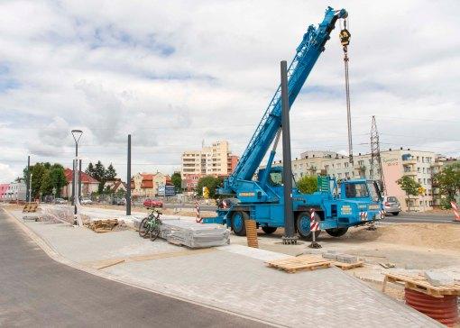 Budowa linii tramwajowej przy alei Sikorskiego (12 lipca 2015) - przystanek Dywizjonu 303