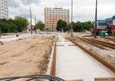 Budowa linii tramwajowej na placu Konstytucji 3 Maja (12 lipca 2015) - przystanek końcowy Dworzec Główny