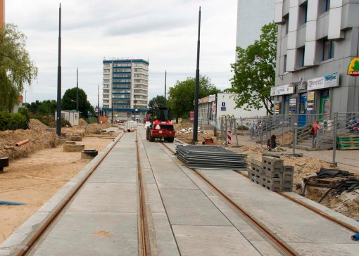 Budowa linii tramwajowej w ulicy Kościuszki (12 lipca 2015)