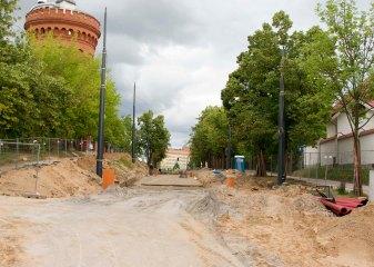 Budowa linii tramwajowej w ulicy Żołnierskiej (12 lipca 2015)