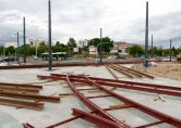 Budowa linii tramwajowej na skrzyżowaniu alei Sikorskiego z ulicami Tuwima i Synów Pułku (12 lipca 2015)