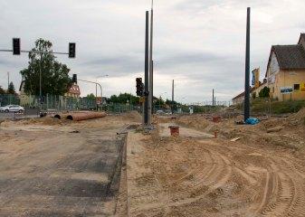 Budowa linii tramwajowej przy ulicy Tuwima (12 lipca 2015) - skrzyżowanie z ulicami Nowaka i Wawrzyczka