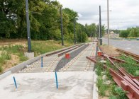 Budowa linii tramwajowej przy ulicy Tuwima (12 lipca 2015) - mijanka w pobliżu skrzyżowania z ulicą Iwaszkiewicza