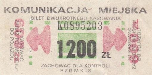 Bilet MPK Olsztyn (1200 zł) z lat 90. XX wieku