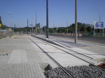 Budowa linii tramwajowej przy ulicy Tuwima (15 sierpnia 2015) - przystanek Uniwersytet-Pływalnia