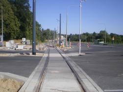 Budowa linii tramwajowej przy ulicy Tuwima (15 sierpnia 2015) - skrzyżowanie z ulicą Iwaszkiewicza