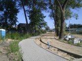 Budowa linii tramwajowej przy ulicy Tuwima (15 sierpnia 2015)