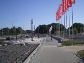 Budowa linii tramwajowej przy alei Sikorskiego (15 sierpnia 2015) - przystanek Real