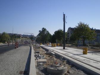 Budowa linii tramwajowej przy alei Sikorskiego (15 sierpnia 2015) - przystanek Andersa