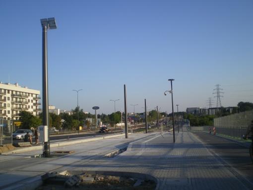 Budowa linii tramwajowej przy alei Sikorskiego (15 sierpnia 2015) - przystanek Dywizjonu 303