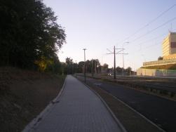 Budowa linii tramwajowej przy ulicy Obiegowej (15 sierpnia 2015)