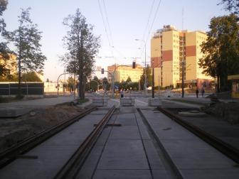 Budowa linii tramwajowej w ulicy Żołnierskiej (15 sierpnia 2015)