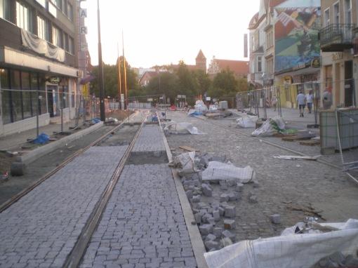 Budowa linii tramwajowej w ulicy 11 Listopada (15 sierpnia 2015)