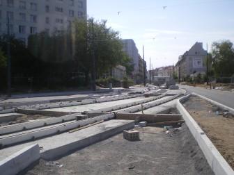 Budowa linii tramwajowej na placu Konstytucji 3 Maja (16 sierpnia 2015)