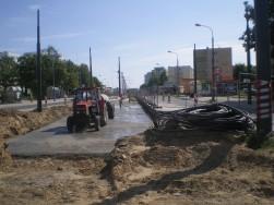 Budowa linii tramwajowej w ulicy Dworcowej (16 sierpnia 2015)
