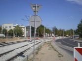 Budowa linii tramwajowej w ulicy Towarowej (16 sierpnia 2015)