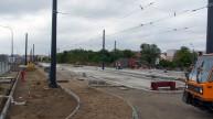 Budowa linii tramwajowej przy ulicy Witosa (16 września 2015) - przystanek końcowy Kanta