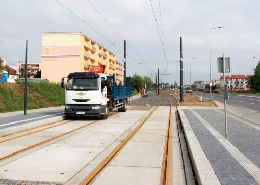 Budowa linii tramwajowej przy ulicy Witosa (16 września 2015) - przystanek Witosa