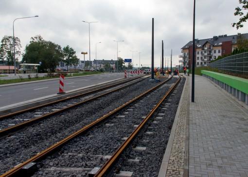Budowa linii tramwajowej przy ulicy Witosa (16 września 2015)