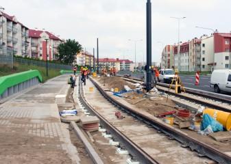 Budowa linii tramwajowej przy ulicy Witosa (16 września 2015) - przystanek Płoskiego