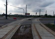 Budowa linii tramwajowej na skrzyżowaniu ulic Witosa, Płoskiego i Bukowskiego (16 września 2015)