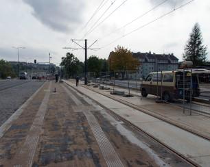 Budowa linii tramwajowej przy alei Sikorskiego (16 września 2015) - przystanek Andersa