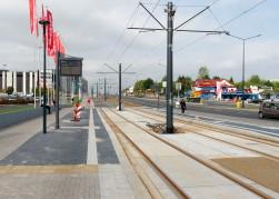 Budowa linii tramwajowej przy alei Sikorskiego (16 września 2015) - przystanek Real