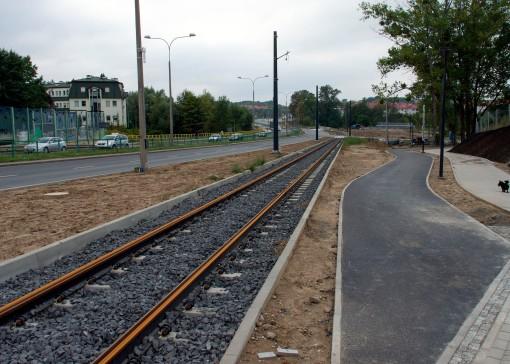 Budowa linii tramwajowej przy ulicy Tuwima (16 września 2015)