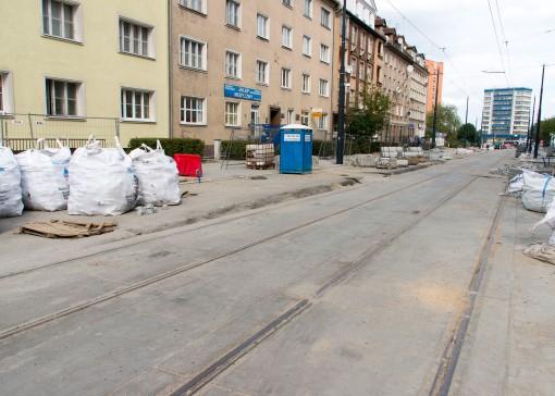 Budowa linii tramwajowej w ulicy Kościuszki (20 września 2015) - przystanek wiedeński Kętrzyńskiego