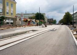 Budowa linii tramwajowej w ulicy Kościuszki (20 września 2015) - przystanek wiedeński Filharmonia